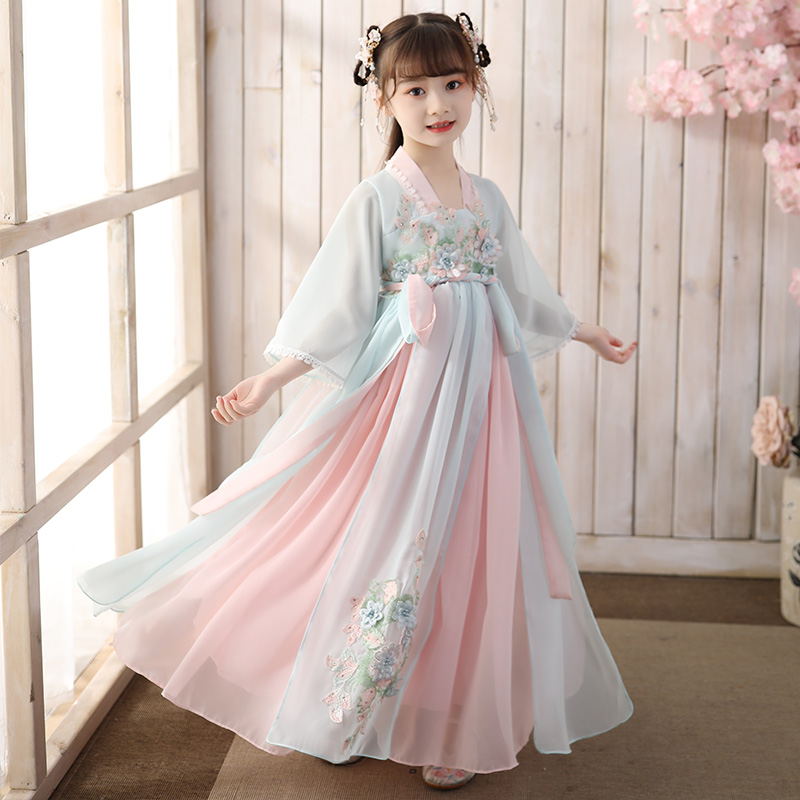 Girls' Fairy Dress ancient style children's Hanfu super fairy Chinese style little girls' ancient dress Tang dress Ru skirt summer dress