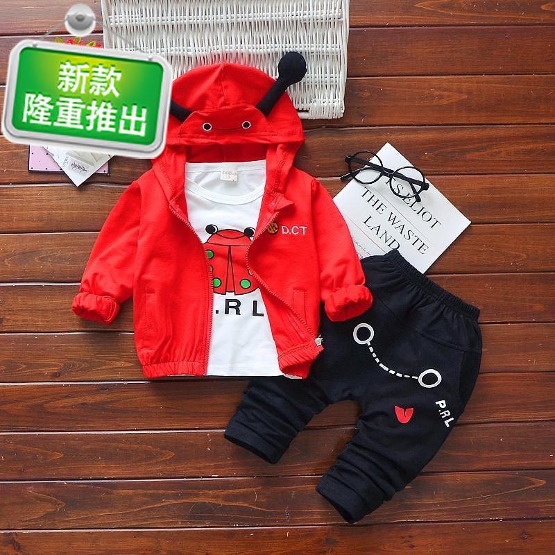 1到3岁男童装秋装2至4周宝宝长袖三件套装d5儿童男装0小男孩衣服