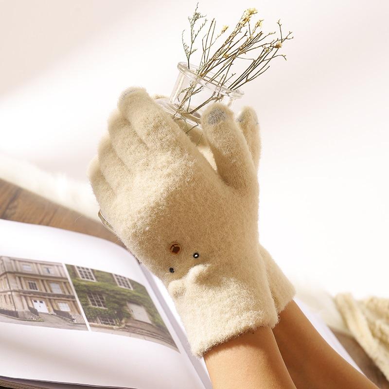 手套冬天女士加绒骑车保暖韩版可爱学生毛绒加厚冬季防寒五指触屏