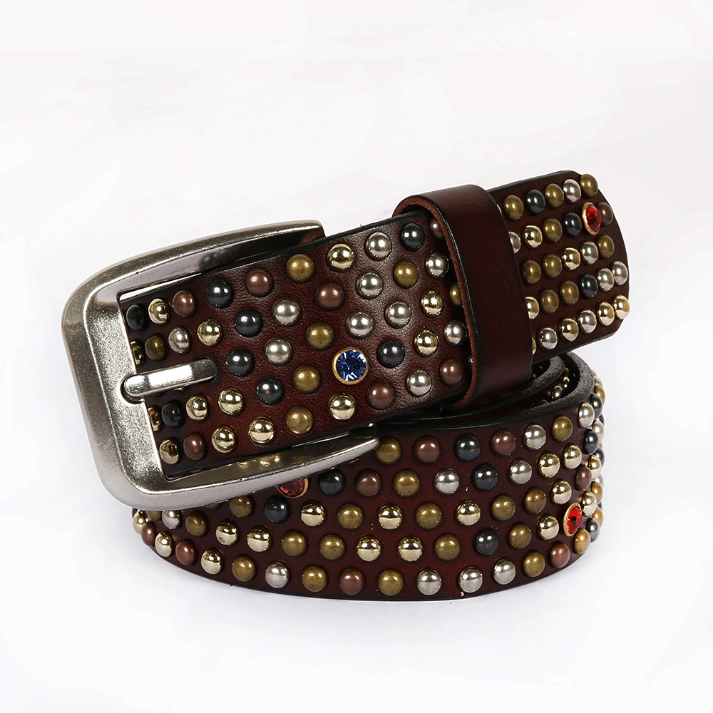 2021 new fashion leisure rivet waistband rivet studded with drill layer cowhide mens and womens pin buckle belt