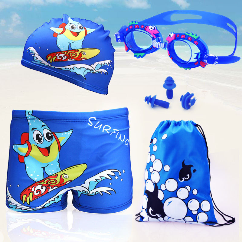 新款卡通儿童游泳衣男童泳裤大小童男孩平角裤+帽宝宝学游泳套装