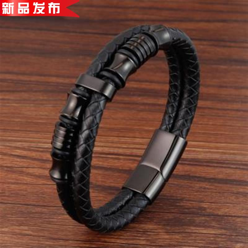 Black leather rope leather mens double stainless steel woven BRACELET HANDMADE multilayer leather bracelet Jewelry