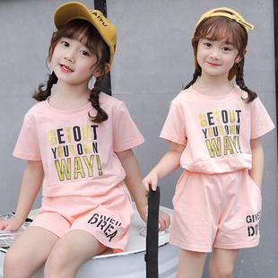 2020夏季新款女童套裝夏裝韓版洋氣休閒套頭短袖T恤中大童兩件套