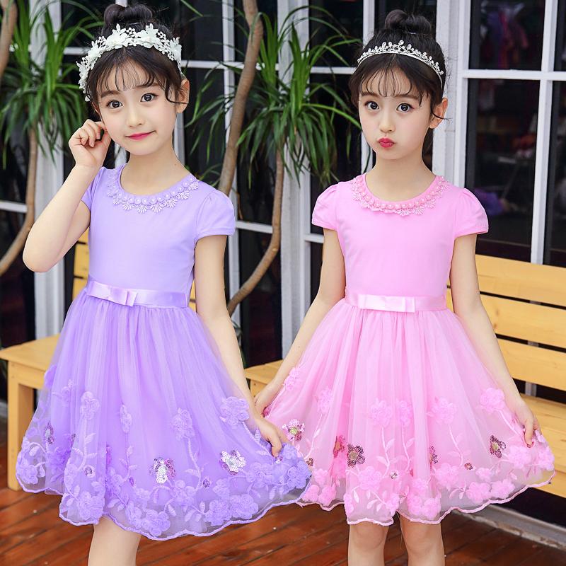 女童连衣裙超洋气夏季2020新款韩版公主裙蓬蓬纱儿童纯棉短袖裙子