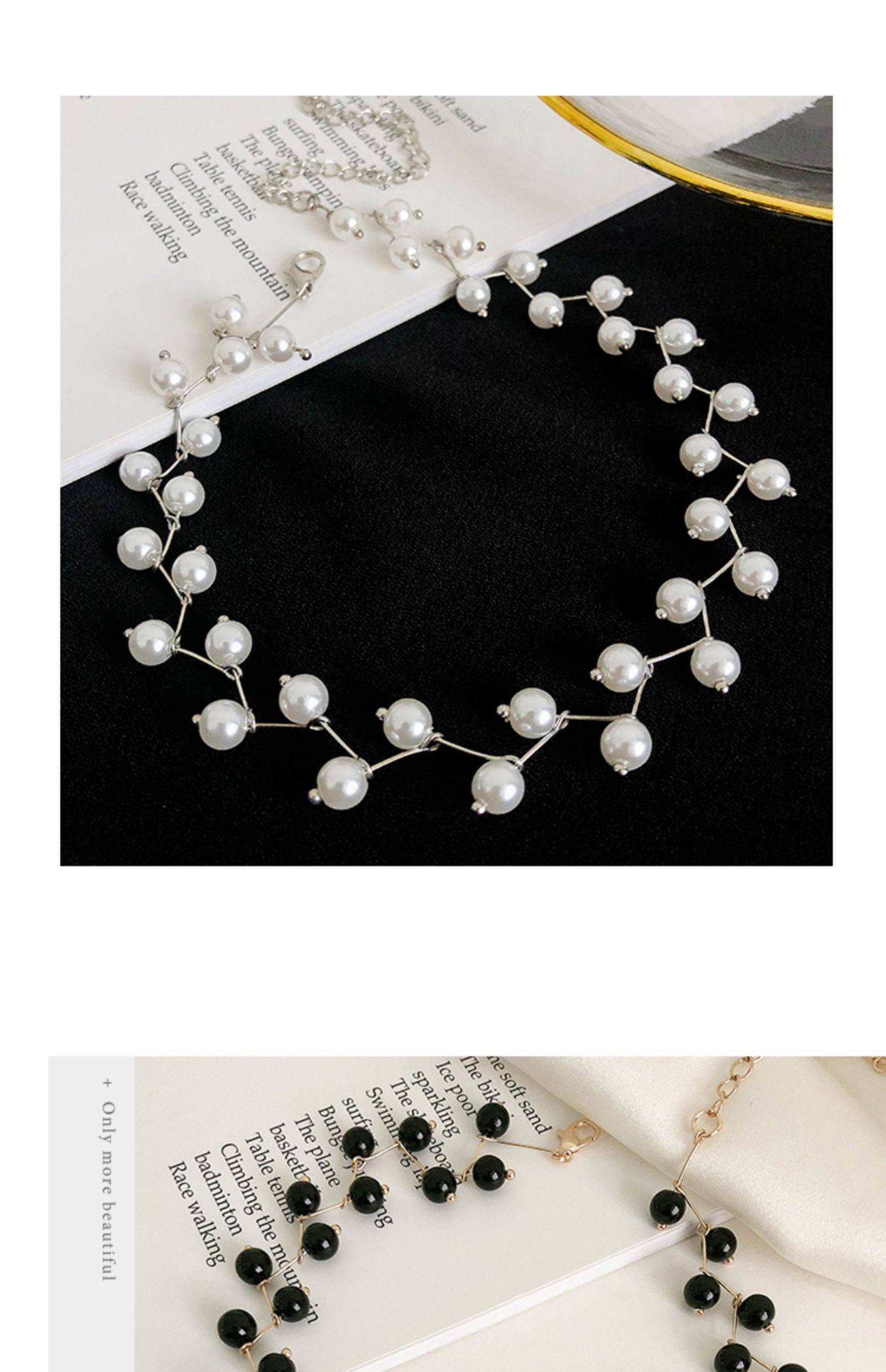 演出颈链白色很仙细脖子链少女饰品裙子韩版手工粗礼服仙女镂空款