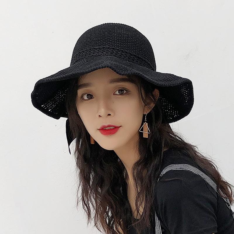 可调节外出旅游遮阳帽女宽沿折叠帽礼帽宽檐新款女帽露流行帽子沙