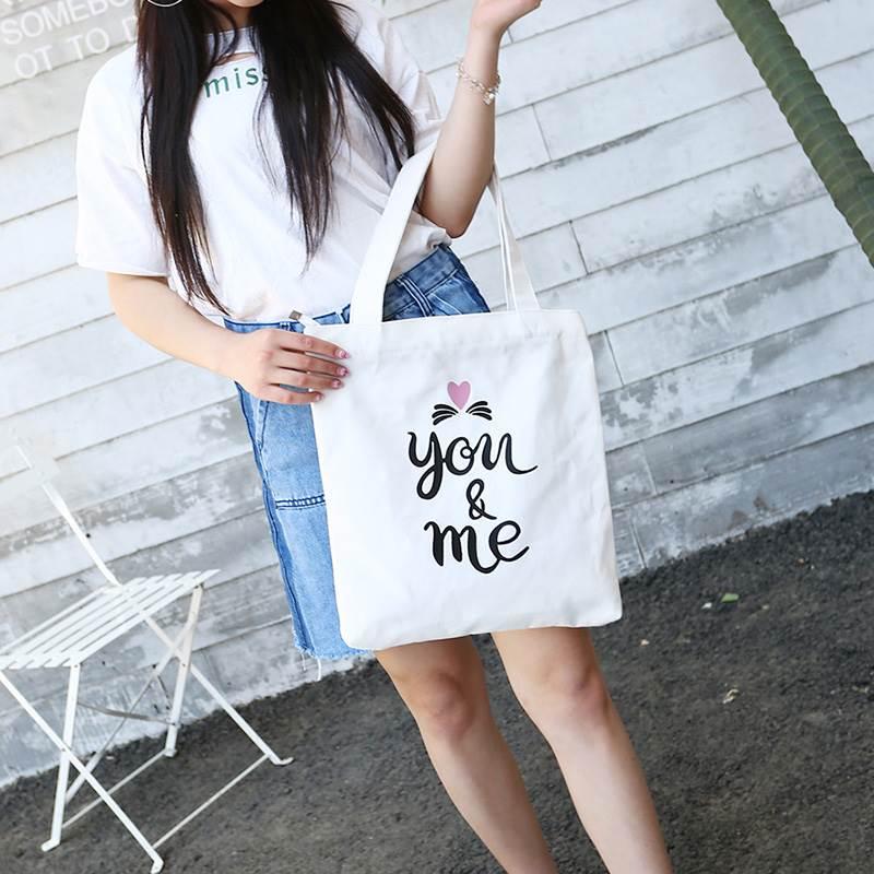 Canvas bag female student Korean version Harajuku literature and Art Department large zipper Book Black Canvas bag one shoulder simple hand