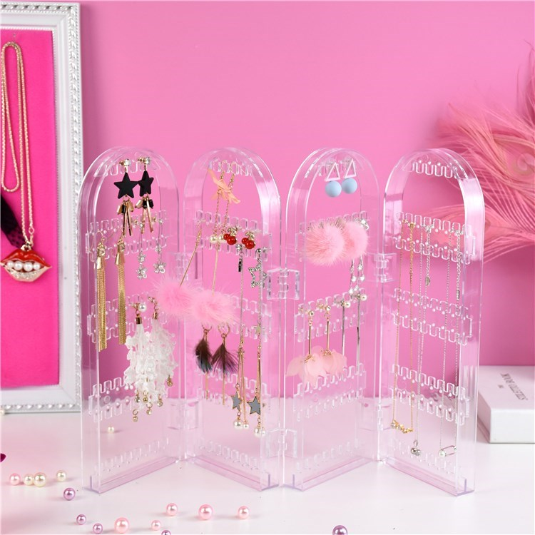 Decoration display rack finishing wall hanging multi-layer creative model plastic desktop box personalized three-dimensional support Earrings collection