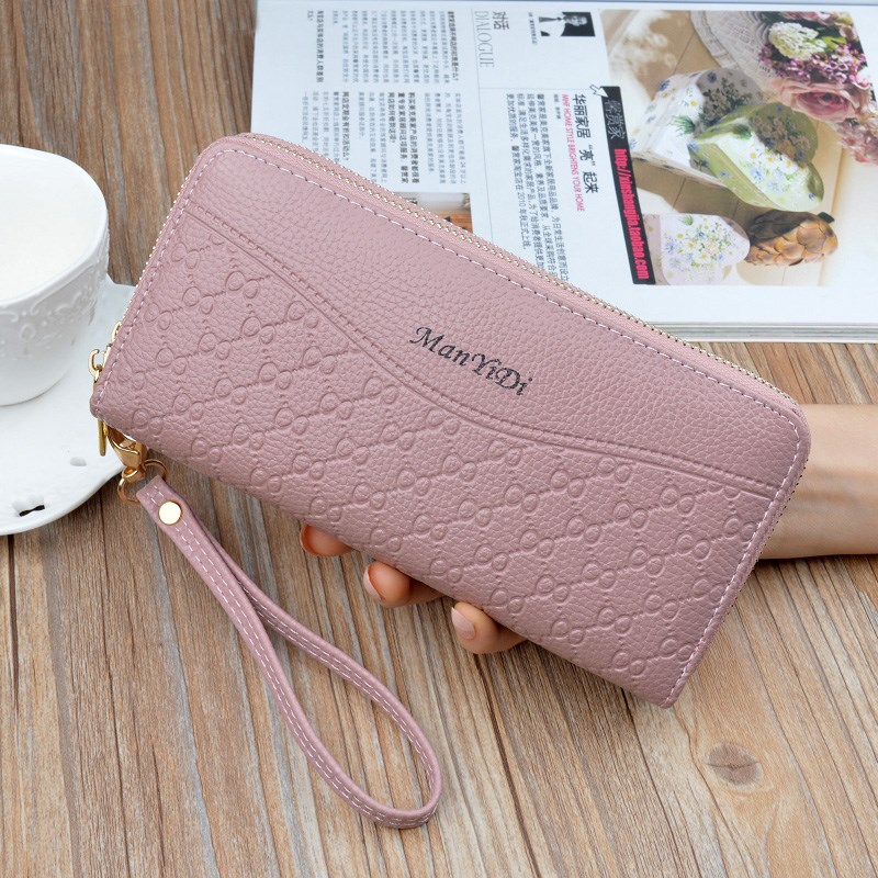 Double card bag hand bag wallet fashion thin 30 fold zero purse zipper simple fashion wallet polyester solid color
