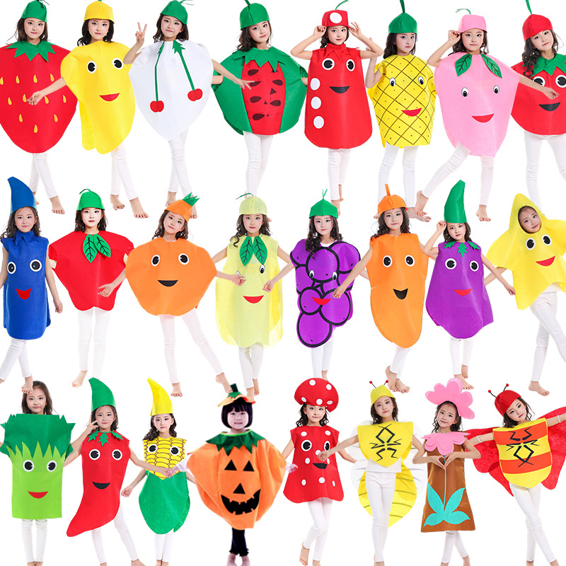 Childrens environmental protection clothing boys Cape green vegetables props clothing grape role play fruit non woven fashion show table