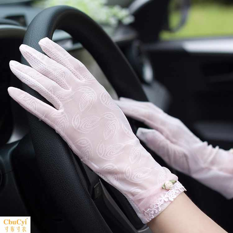 Summer sun protection gloves womens summer thin car anti slip anti ultraviolet short lace ice touch screen