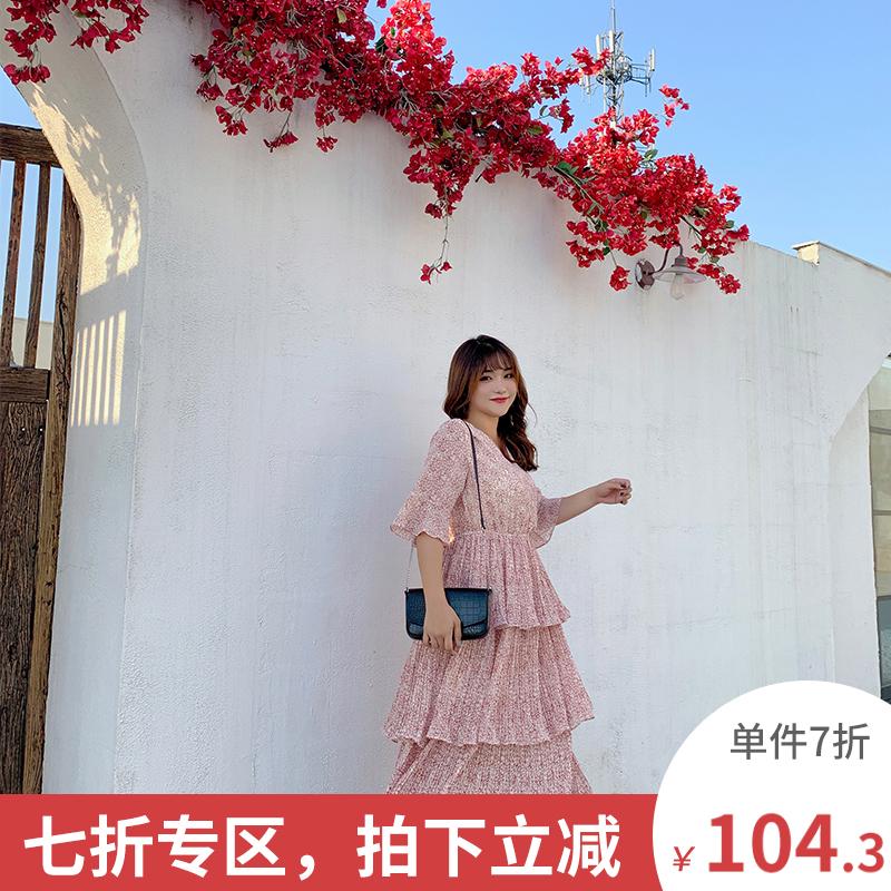 限时抢购2019胖mm夏装新款仙女超仙连衣裙