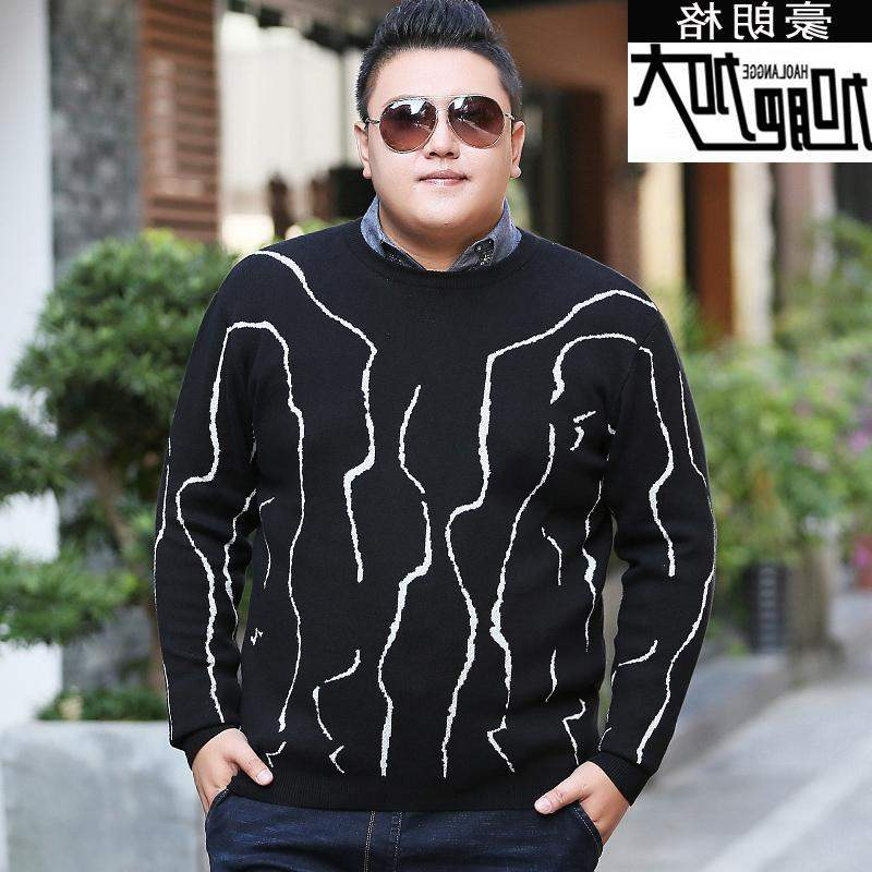 High grade brand fat mens fat plus plus size V-neck Pullover Sweater fat oversize sweater