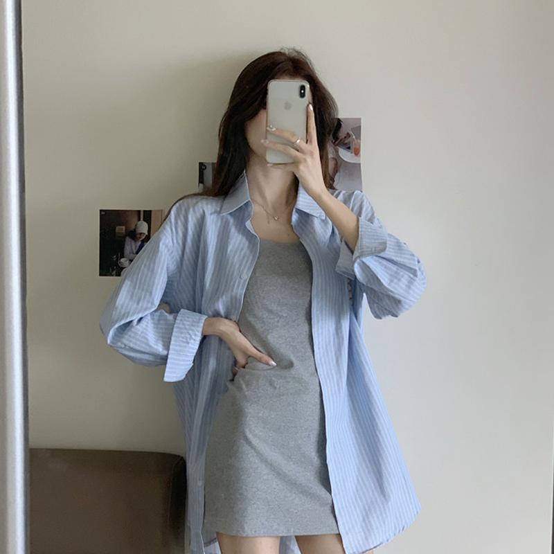 蓝色条纹衬衫女设计感小众春季2021年新款韩版气质中长款长袖衬衣