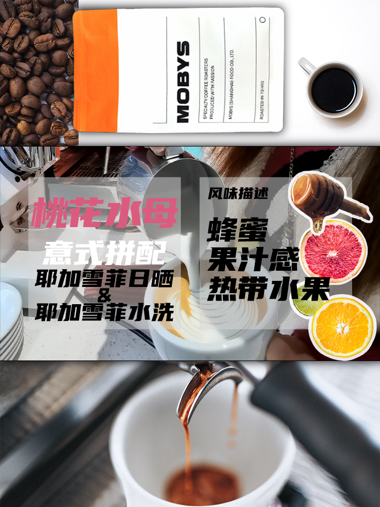 Mobys peach blossom jellyfish Italian mix with imported coffee beans from Ethiopia