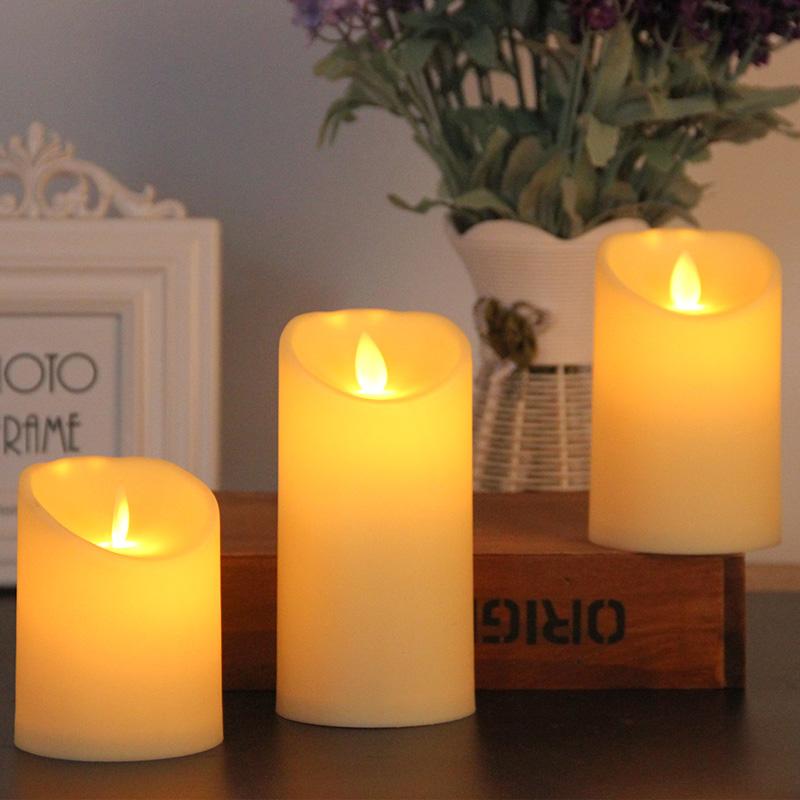 情人节圆柱斜口石蜡LED摇摆求婚表白电子蜡烛灯 火苗晃动婚庆装饰