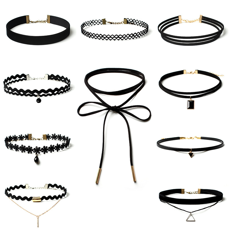 European and American Gothic simple jewelry Lolita fake Collar Choker Collar Necklace combination set