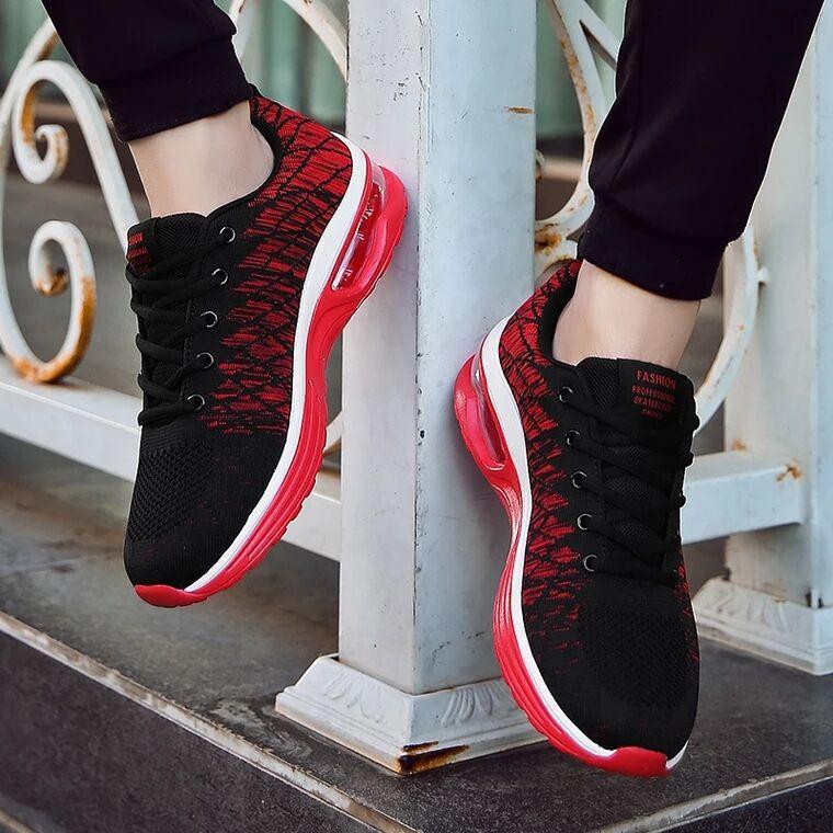 利登阿玛尼夏季男鞋飞织潮流气垫鞋男减震跑步鞋男士运舞蹈运动鞋图片