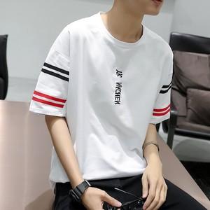 男生t恤衫短袖男韩版青少年宽松五分袖潮流衣服学生帅气半袖2019