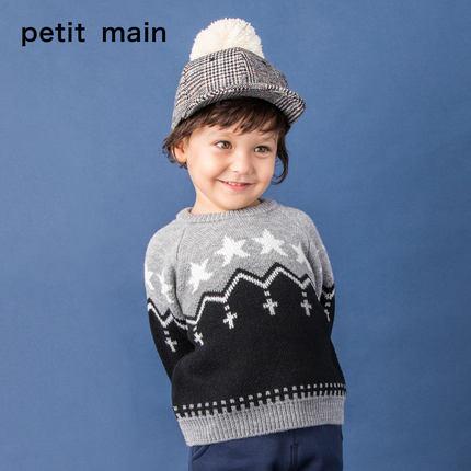 PETIT MAIN 儿童拼色毛衣