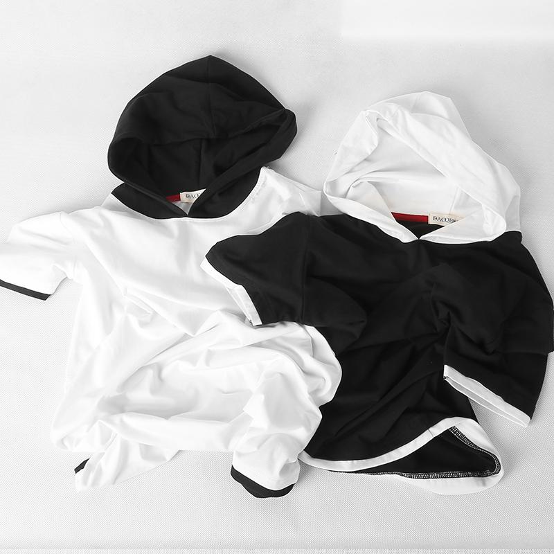 夏季韩版连帽短袖t恤男士卫衣带帽宽松假两件2019新款潮流个性