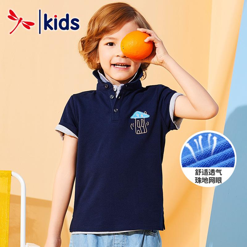 红蜻蜓经典童装男童POLO衫2019新款夏装纯色翻领儿童绅士百搭短袖11月28日最新优惠