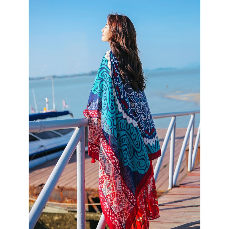Shawl summer with skirt national style silk scarf thin womens all-around scarf super large shawl on the beach
