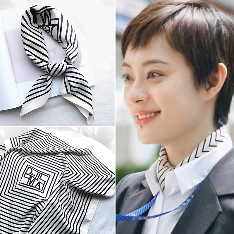 Silk scarf with hole South Korean ins temperament small square scarf women spring and autumn thin versatile fashion decoration Stripe Scarf with West