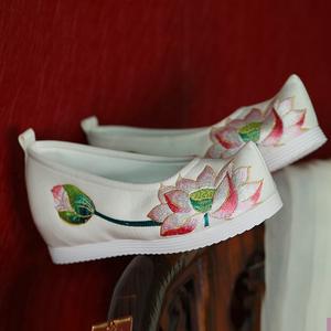 新款夏荷绣花鞋翘头履弓鞋般若汉服鞋内增高布鞋古风女鞋宋制鞋
