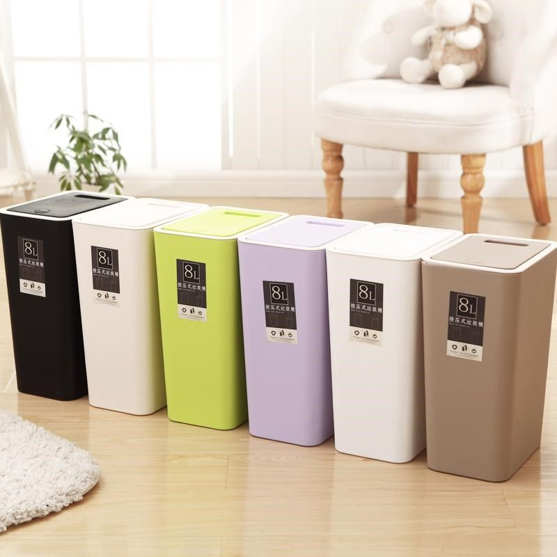 Kitchen dustbin sliding cover white bedroom shaking room cabinet dustbin practical Beige durable family vertical