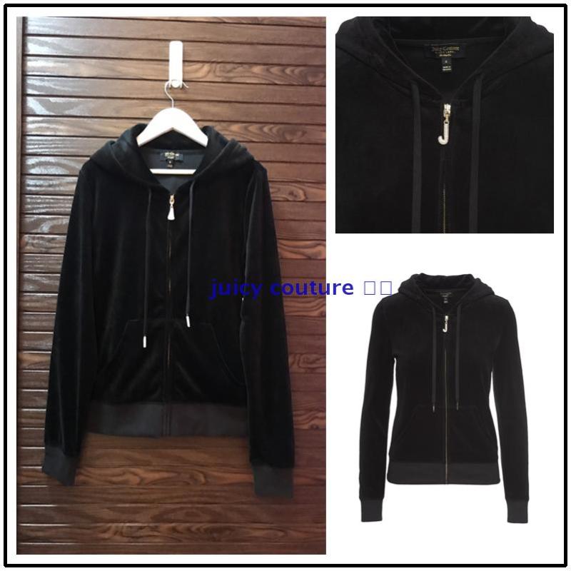 国内现货 美国专柜代购 juicy couture经典黑色J钻天鹅绒长袖卫衣