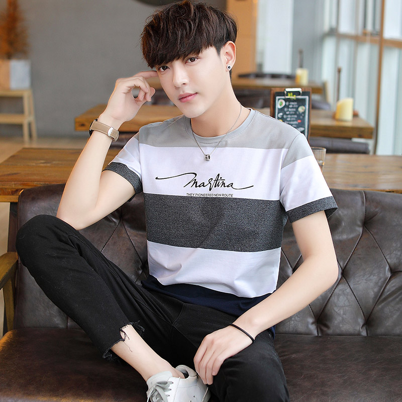 Zhang Tianen mens summer new style who is striped short sleeve T-shirt Korean fashion half sleeve clothes