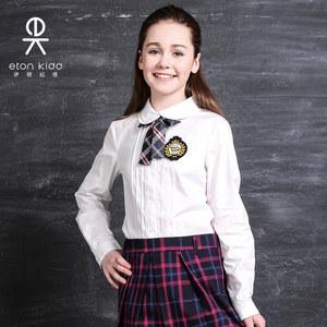伊顿纪德英伦学院风2019春季女童长袖淑女衬衫双层领可爱儿童衬衣