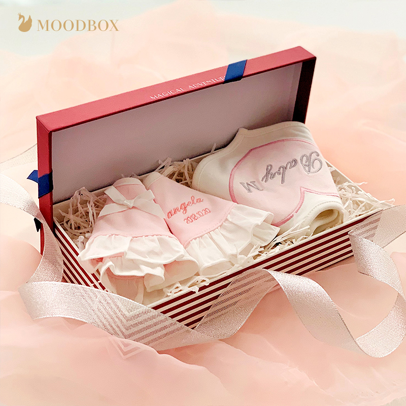 Moodbox new baby supplies gift box cotton custom embroidery mouth siphwad babao bullion month