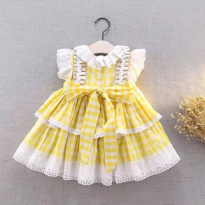 Summer Spanish Lolita princess skirt girl Plaid vest sleeveless dress baby puff cake skirt