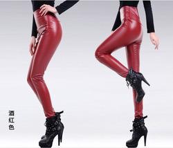 棉裤女冬外穿加厚加绒保暖高腰时尚2020新款光面年轻pu皮高腰裤子