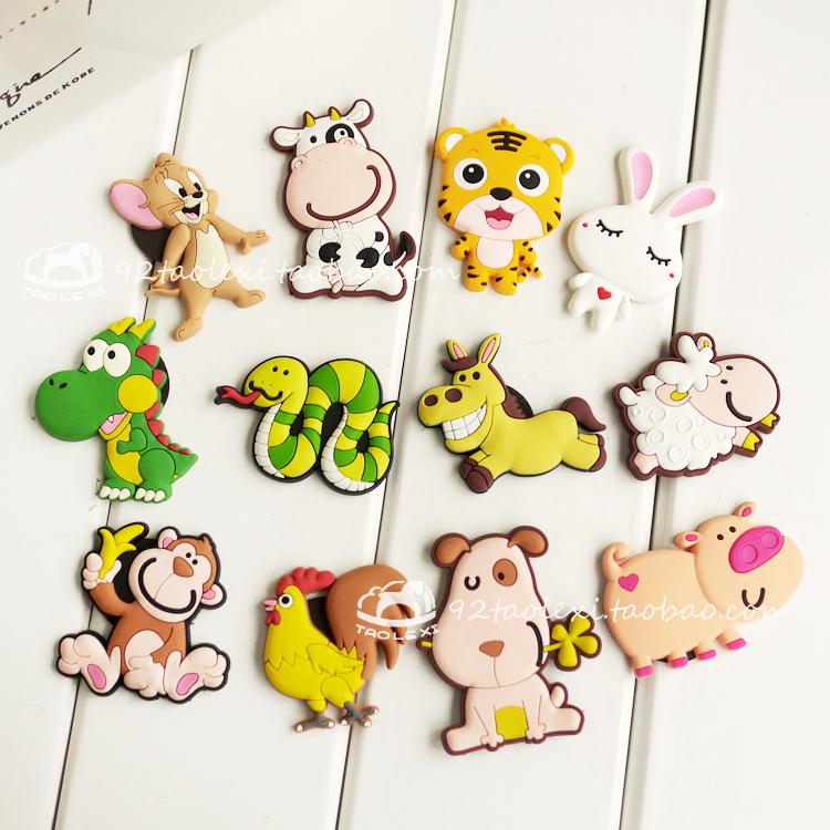 日韩创意儿童冰箱贴磁贴 卡通猪狗 实体热销软胶冰箱贴 生肖羊猴