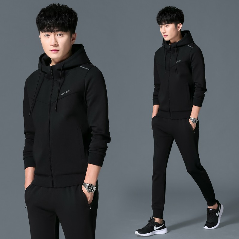 Genuine 2021 spring and autumn cotton fashion young mens cardigan hooded long sleeve necked pants leisure sports