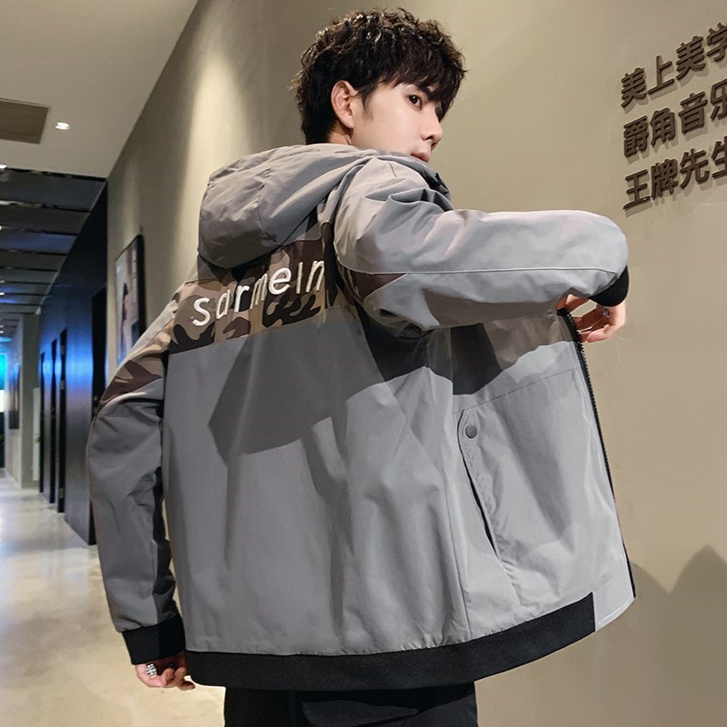 Fat plus plus mens jacket fat mans top loose fat guy baseball collar jacket oversized casual coat