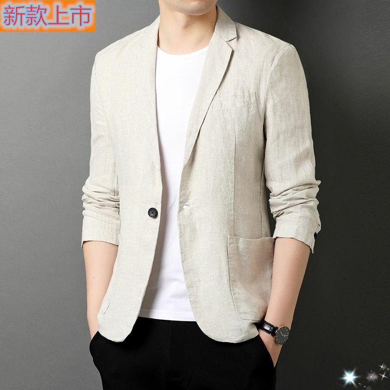 Special cabinet is brand 2020 autumn new 100% linen suit mens Chinese suit loose mens coat 100