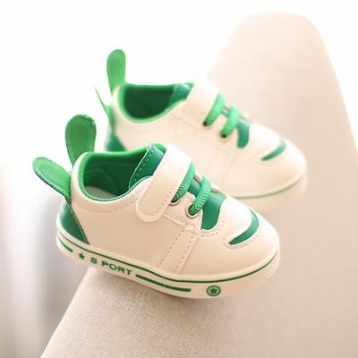 小白鞋儿童鞋春秋男女宝宝学步鞋软底防滑1-2-3岁婴儿鞋皮面防水