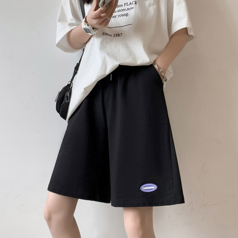 运动短裤女夏季薄款2021新款韩版中裤黑色宽松直筒休闲阔腿五分裤