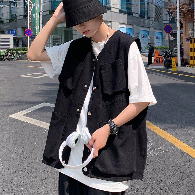 日系背心工装马甲男夏季薄款机能无袖马夹克潮ins坎肩黑色外套装