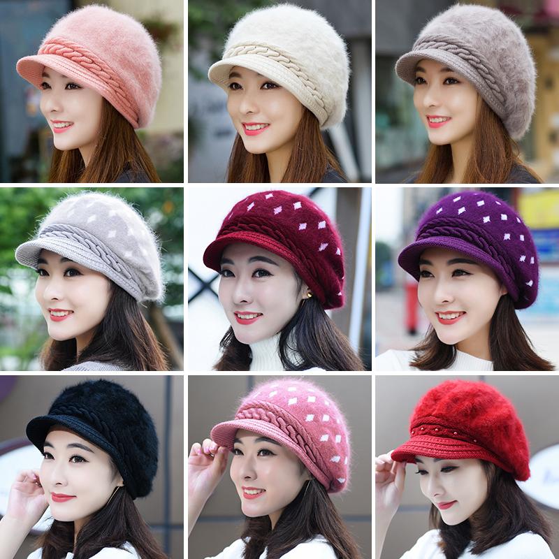 兔毛帽子女秋冬季时尚潮韩版女士新款可爱百搭保暖冬天针织毛线帽