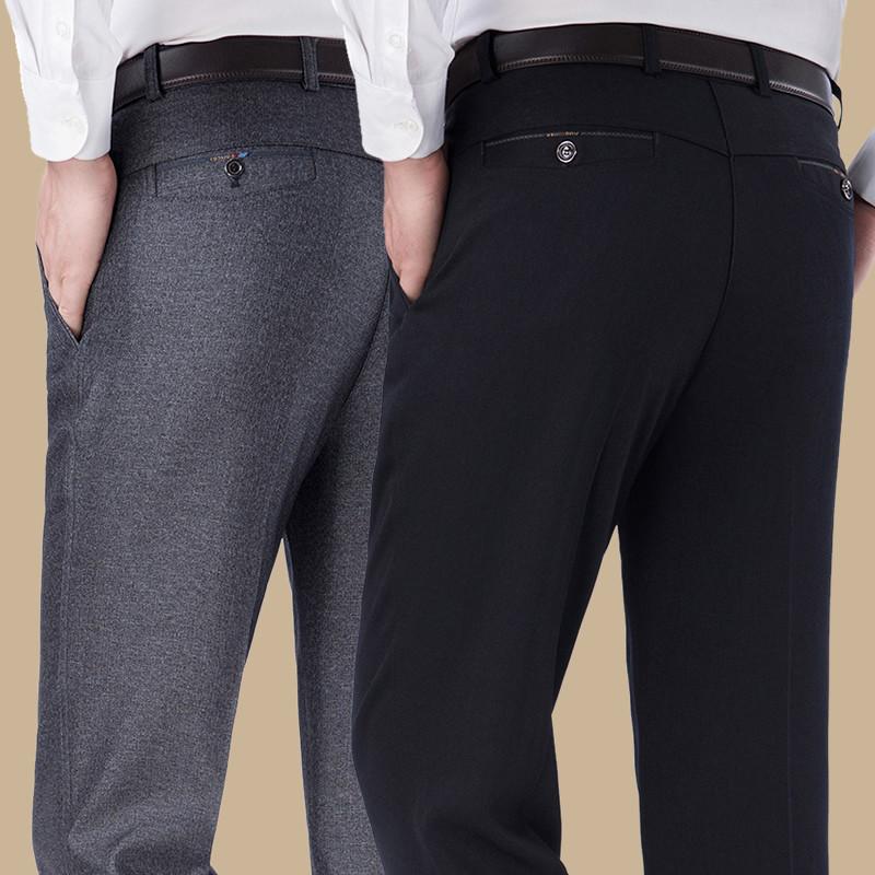 爸爸西裤子男装中年中老年人宽松秋冬季男士休闲裤加绒加厚款棉裤