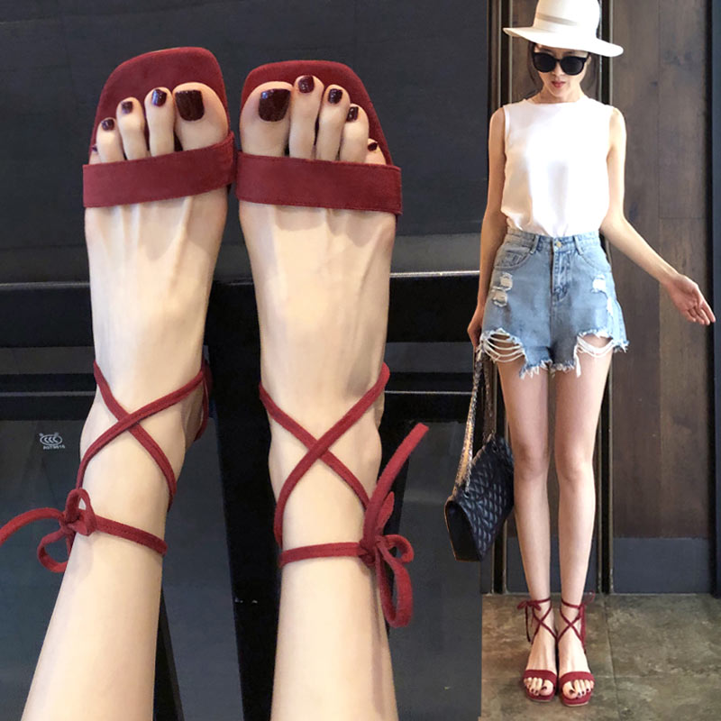 Sandals womens shoes high heeled shoes thick heel bandage summer new Korean fashion one word open toe square shoes 2020 Rome