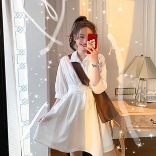 2020新款超仙女森系甜美復古小清新襯衫法式桔梗智燻連衣裙子夏女