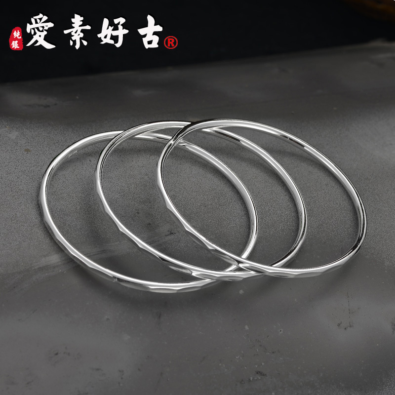 Aisuhaogu foot silver 999 closed solid three ring silver bracelet bright face multi ring female silver bracelet Bohemian Bracelet