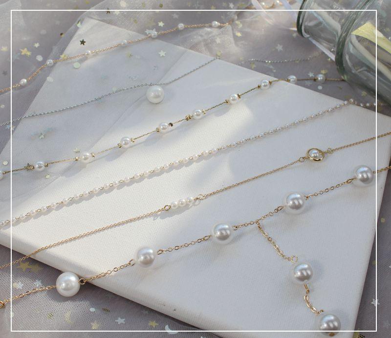 网红白色小珍珠复古百搭项链优雅气质项圈锁骨链简约短款女脖颈链热销24件正品保证