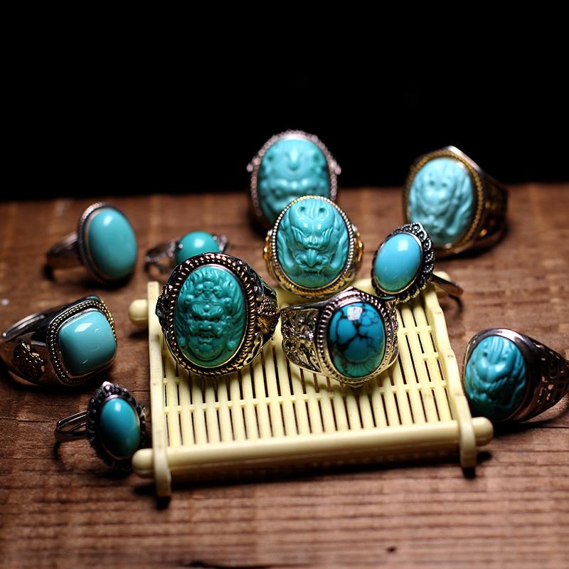 天然原矿高瓷高蓝绿松石925银指环